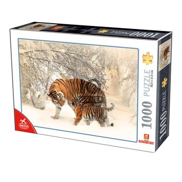 Animal Puzzle - Winter Tigers - 1000 piese